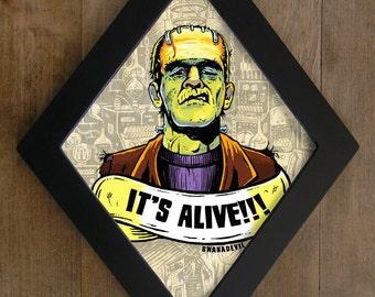 Frankenstein monster. It's Alive diamond framed print.