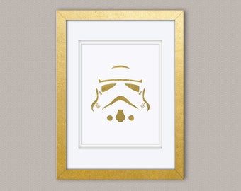 Star Wars Storm Trooper Gold Foil Print, Gold Print, Illustration Art Print