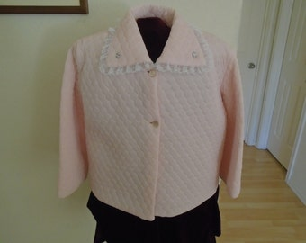 Vintage Pink Quilted Boudoir Jacket / By Nanette undies Co.. Never worn / Large REDUCED