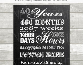 40 year anniversary printable:Digital, instant download, minutes, hours, seconds, days, years, lds