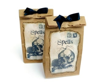 Skull Candy Bags, Halloween Favor Bags, Trick or Treat, Spells, Witch Goodie Bags, Kraft Brown, Spooky, Halloween Gift Bags