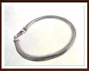 Sterling Silver Rope Bracelet - Substantial Thick Smooth Braided Sterling Silver Bracelet - Modern Era 1990s Vintge Brac-6267a-070216050