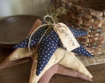 Primitive Stacked Fabric Stars Patriotic Americana Decor