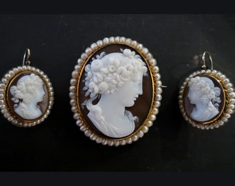 Victorian Bacchus and Bacchantes Shell Cameo Brooch and Earrings Set 14k c. 1870, Antique Cameo, Antique Earrings, Victorian Earrings