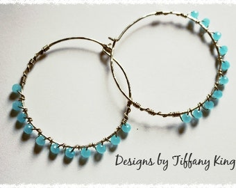 Chalcedony Earrings, Chalcedony ,Sterling Silver, 925 , Bezel, ear wires, Key West, Tiffany King