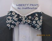 Mens Bowtie  ~ Liberty Print - Mitsi ~ Navy floral  colorway~ floral bowtie ~ choice of fittings ~ neoud ~ tie ~ cravat