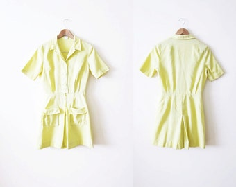 1950s Womens Romper / Light Yellow Shirtwaist Dress / 50s Clothing / Medium Large