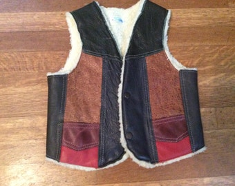 Kid's Sheepskin Lined Leather Vest / Child's Leather Vest / Made in Mexico / Awesome Leather Kid's Vest