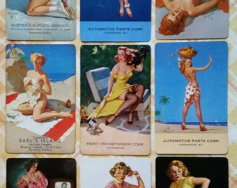 Collection Vintage Pin Up Girl Advertising Playing Cards Lot