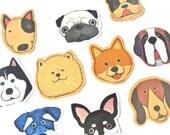 Dog Sticker - Puppy Stickers - Dog Flake Sticker Pack - Mind Wave Stickers - Pug Husky Hound French Bulldog - Japanese Stickers