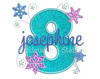 Snowflakes Number Eight 8th Birthday Applique Machine Embroidery Design eighth winter frozen INSTANT DOWNLOAD