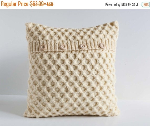 On Sale 25 Off White Hand Knitted Cushion Waffle Pattern