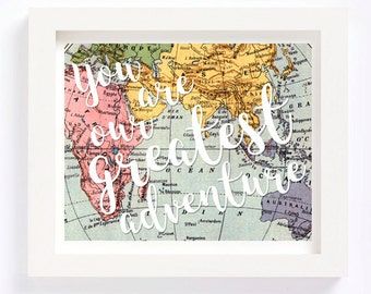 World map wall art vintage etsy printable you are our greatest adventure vintage world map kid playroom travel nursery wall art gumiabroncs Image collections