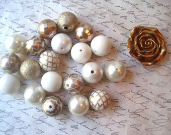 Gold Necklace Kit, Chunky Gumball Bead Kit, Gold and Ivory Beads, Bubblegum Necklace Kit, Hardware Included, Necklaces, DIY Jewelry