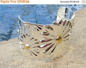 ON SALE Wide Sterling Silver Cuff Bracelet with Sunflowers