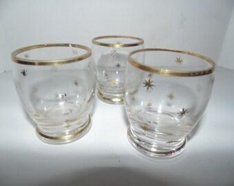 Vintage Mid-century modern atomic Stars shot Glasses 1950s Bar Glass