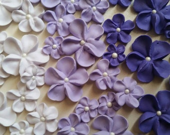Shades of purple ombre flowers -- Edible cake decorations cupcake toppers (24 pieces)