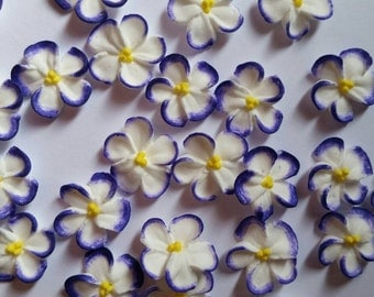 Purple-tipped white royal icing flowers -- Edible handmade cake decorations cupcake toppers (24 pieces)