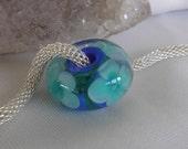 Handmade glass lampwork focal bead Big Hole European Charm artisan SRA loose bead Flowers