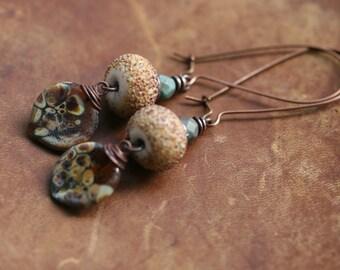 Rustic Elongate Boho Primitive Natural Woman  n67- nature color . sand peach color . bohemian jewelry . artisan earthy beads . neutral color