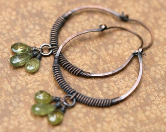 Rustic Wire Wrapped Coiled Wire Hoops earrings n185 - Vesuvianite stone . green olive color . bohemian . artisan solid copper hoops . large