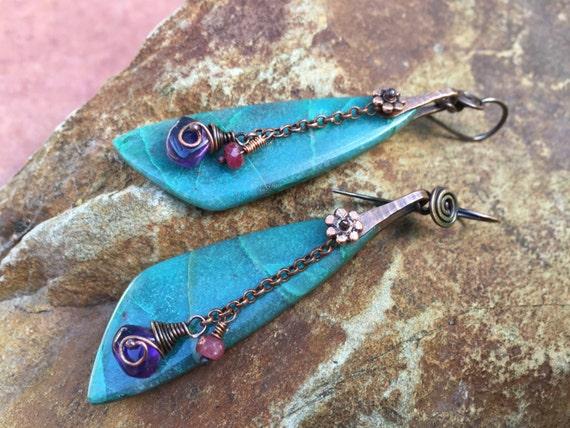 Rustic Jewelry . Chrysocolla earrings n.294 - earthy jewelry . tribal jewelry . organic jewelry . beach . large stone earrings . solitary