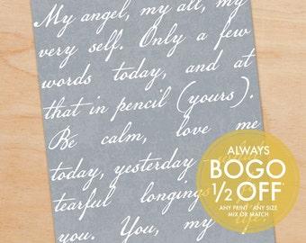 Wedding Vows Print, Love Poem, Lyrics, Script, Personalized Art Print, Wedding Gift, Anniversary Gift, Wall Decor, Custom Art