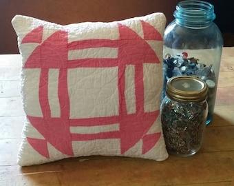 No. 42 Decorative Pillow, Bright Valentine Pink Antique Churn Dash Quilted Pillow