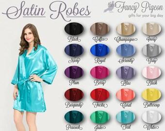 SATIN ROBE - Bridesmaid Robe - Bridesmaid Gifts - Bridal Party Robes - Bride Robe - Getting Ready Robe - Bridesmaid Gifts - Wedding Robes