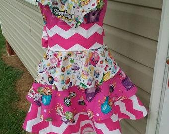 Shopkins ruffled dress size 7/8 girls