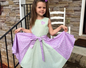 Big sister dress with contrast sides and sash, very full skirt