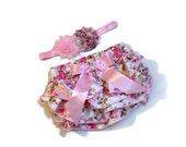Christmas Diaper Cover/Headband Set, Pink Floral Satin Diaper Cover with Rhinestone Embellishment on Bow and Matching Headband