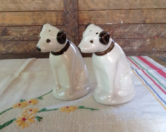 Vintage Salt and Pepper Shakers Motorola Dog Nipper Collectible Kitchen Ware Retro Home Decor Advertising Logo Music Records Dog Figurines