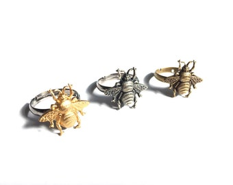 Honey Bee Ring in Raw Brass or Antique Silver Finish Stamping with Black Adjustable Ring Base