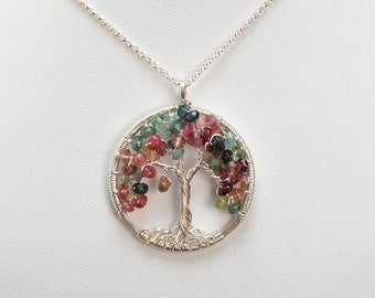 Faceted Multi Color Tourmaline, Writer's Tree of Life Pendant, Sterling Silver