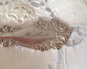 "Antique silver plate 1905 serving spoon inscribed ""Mother"" ornate vintage silver flatware serving spoon by herminas cottage"