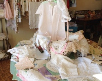 Vintage baby clothes 1940 baby dress pale pink cotton baby dress cottage  chic baby robe dress hand made vintage baby dress
