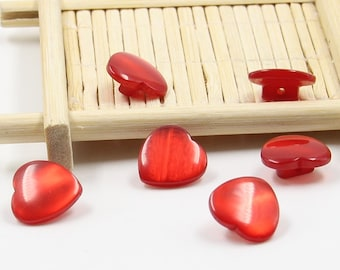 6 pcs 0.55 inch Red Heart Resin Shank Buttons for Shirts Cardigans