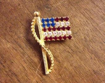 Sale Vintage RAFAELIAN Rhinestone American Flag Pin/Brooch