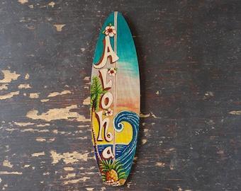 Aloha Wave Mini Surfboard - beach, tropical, hawaiian wall decor