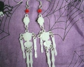Glow in the Dark Skeleton Bones Dangle Earrings with Red Crystals GID Halloween Fun Fashion Jewelry