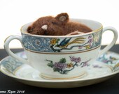 Needle felted sleeping Mouse, Mouse in teacup, Lenox Ming teacup and mouse