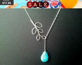 SALE!! Turquoise Necklace, Leaf Necklace ,Lariat Statement mother sister  Personalized,Wedding Bridal Holiday Jewelry MOM GIFT