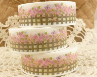 Pink Flowers and Fence Garden Washi Tape - C569