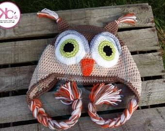 Bonnet earmuffs owl, brown-beige tones