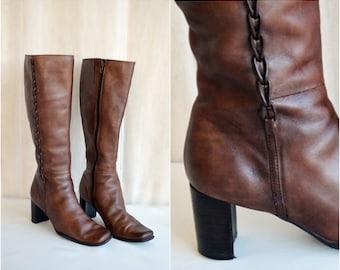 Vintage Genuine Leather Boots, Size 37 EU /  6-6.5 US, SALE