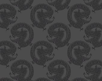 Fat Quarter Chinese Dragons on Dark Grey 100% Cotton Quilting Fabric Minshan