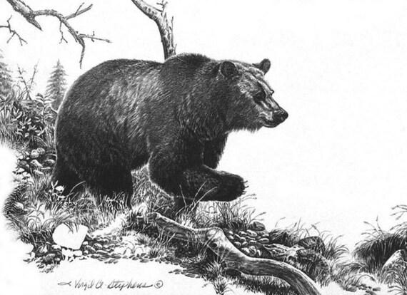 En movimiento oso negro de arte de un oso que se ejecuta a