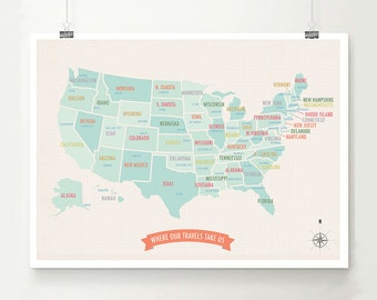 USA Travel Map,  Travel Decor, Usa Map Print, Gender Neutral, Wedding Gift, Nursery Decor, Beige Map, Customizable Map, Personalized Map