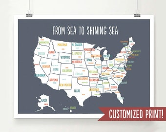 Customized USA Map, USA Map Art, USA Map Poster, Usa Map Print, Personalized Map, Travel Art, Travel Decor, Wedding Gift, Baby Shower